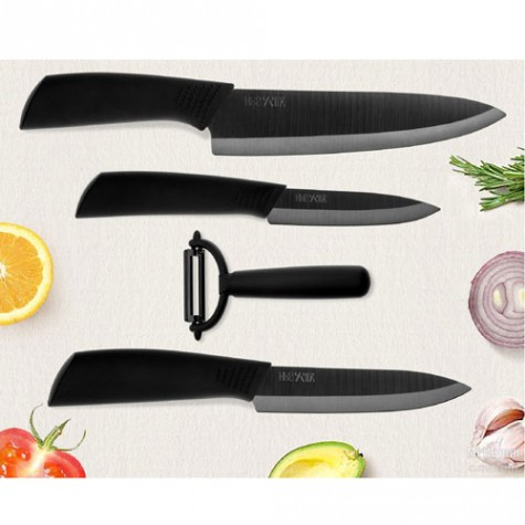 Huo Hou Nano Ceramic Knife Set 4 pcs Black