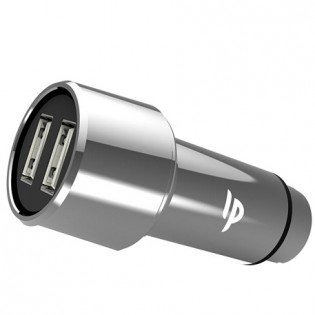 LilPartner LP SteelMate Dual USB Smart Car Charger Silver