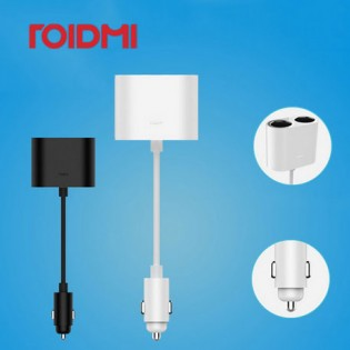 Xiaomi Roidmi 1 to 2 Car Cigarette Lighter Charger Adapter Black