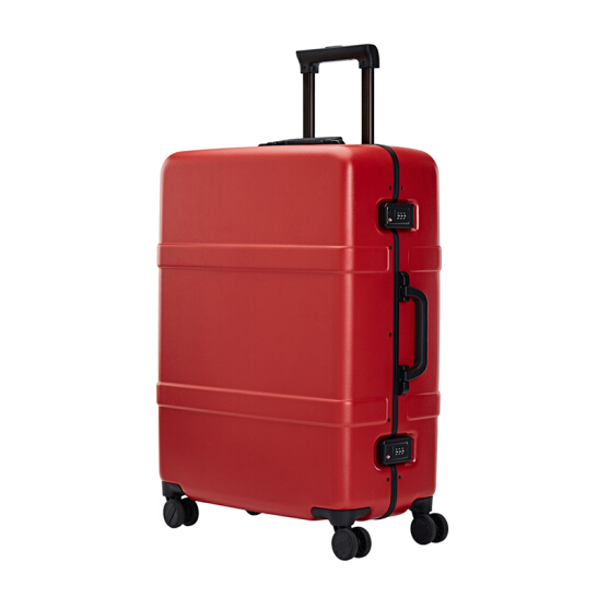 "RunMi 90 Points Classic Aluminum Box Suitcase 24"" Amber Red"