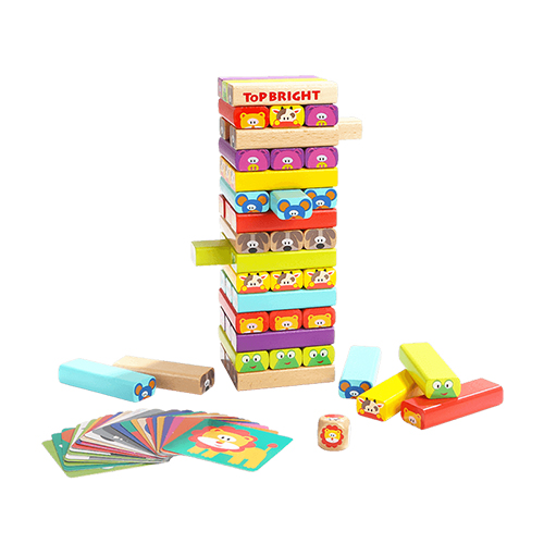 TOP BRIGHT Colored Wooden Blocks Stacking Board