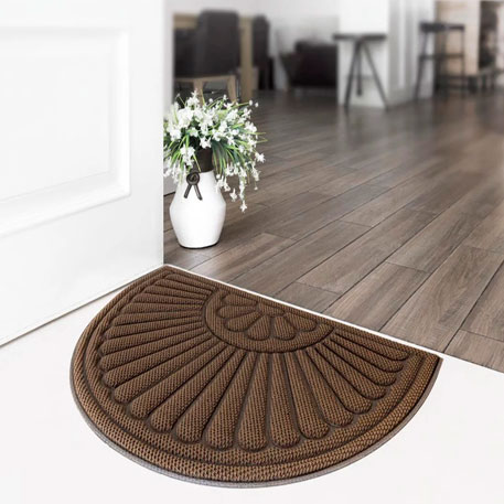 77+ Dustproof Halfmoon Floor Mat 90x60cm Pineapple Pattern Brown